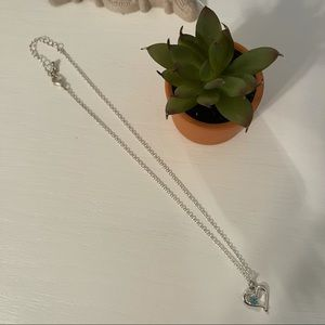 🌸 3/$8 Silver and Blue Heart Necklace